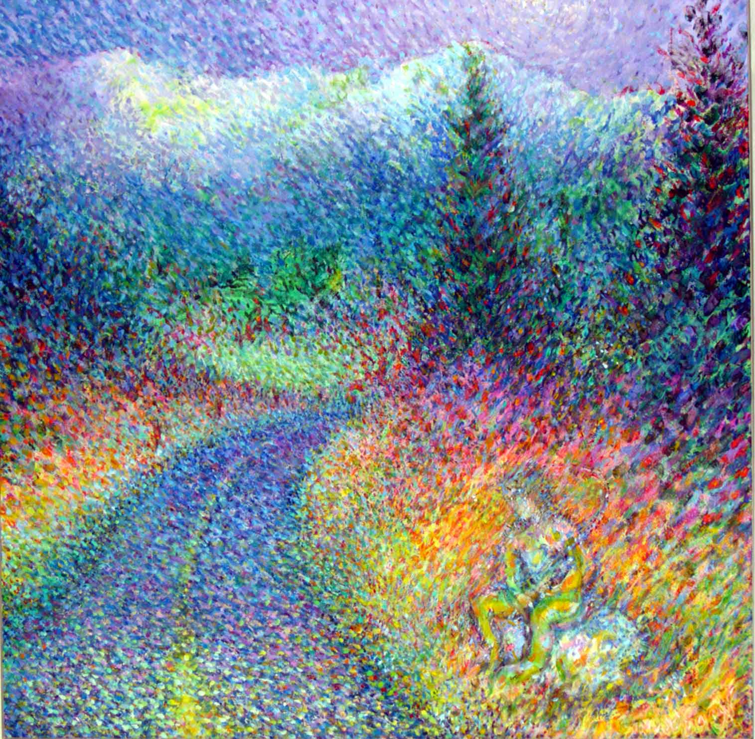 A super colorful landscape dot painting of a man fishing into a road